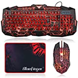 BlueFinger?? USB Wired Blue Red Purple Color LED Backlit Keyboard and Mouse Set with Cool Crack Pattern Adjustable Color - Black for Laptop & Desktop + BlueFinger?? Customized Gaming Mouse Pad as Gift