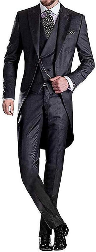 Sicily Men's 3Pc Long Tailcoat Suit Notch Lapel One Button Wedding Suits Groom Tuxedos
