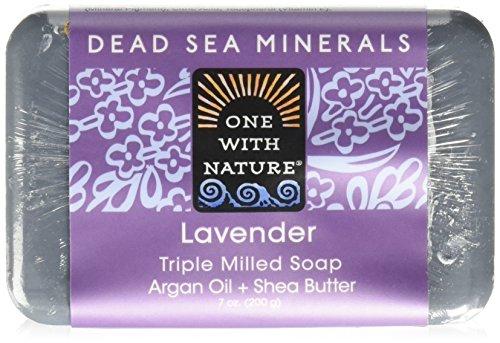 One With Nature Pain de savon à la lavande - Exfoliant doux - Avec sels minéraux de la Mer morte et beurre de karité - 200 g