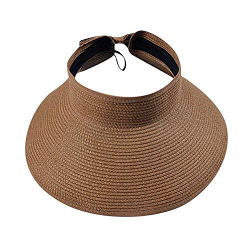 Akemaio Mujeres Sun Viseras Sombrero de ala Ancha Plegable Rueda para Arriba la Playa de la Paja Sombrero de Sol