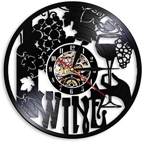 ZZLLL Vinilo Reloj de Pared Logo de Vino Botella de Vino Vidrio Vid Licor Bebida Alcohol Bar Pub Pegatina Emblema