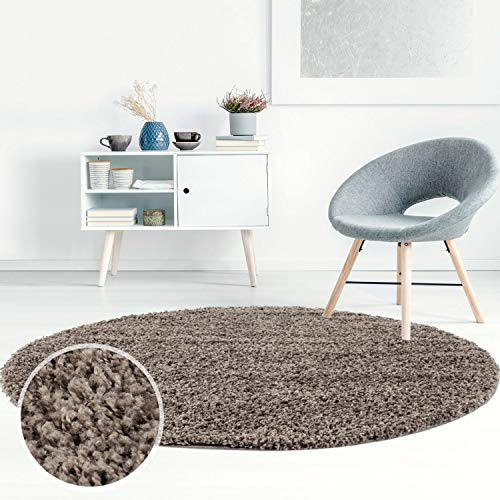 Carpet City ayshaggy Shaggy Teppich Hochflor Langflor Einfarbig Uni Mocca Weich Flauschig Wohnzimmer, Größe: 200 x 200 cm Rund, 200 cm x 200 cm
