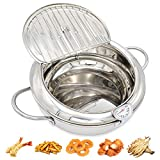 304 Stainless Steel Tempura Deep Fryer Pot With Thermometer And Oil Drip Rack Lid for Chicken French Fries Fish and Shrimp Oil Frying Pan (3200 ML)