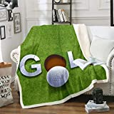 3D Golf Theme Flannel Blanket Couch Sofa Chair Bed White Golf Ball Grass Ground Sherpa Throw Leisure Sport Collections Blanket Size(50inchx60inch)