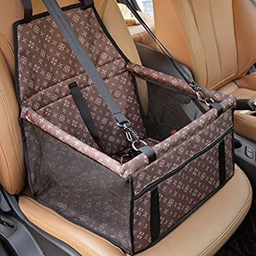 Asiento elevador de coche para mascotas, grande, gatos, perros, bolsa de transporte de viaje, impermeable, lavable, correa de seguridad plegable, con cremallera, bolsillo regalo (marrón)