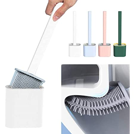 GONIRY Silicone Toilet Brush with Holder Stand , Brush for Bathroom Cleaning, Cleaning Silicone Brush and Holder - Pack of 1, Multicolour