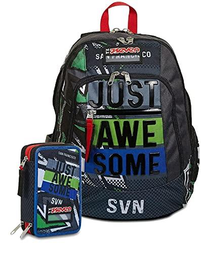 Zaino Schoolpack Seven Advanced Underground - Estuche completo con 3 cremalleras