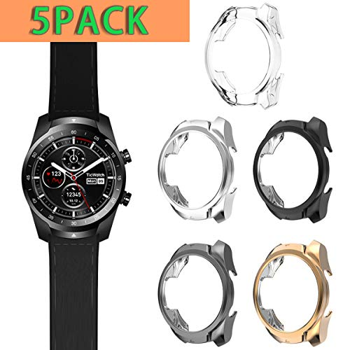 Haojavo Compatible with Ticwatch Pro Case, Slim Fit Ultra Light TPU Protective Case Bumper Shell Cover for Ticwatch Pro Smartwatch Accessories 5 Pack