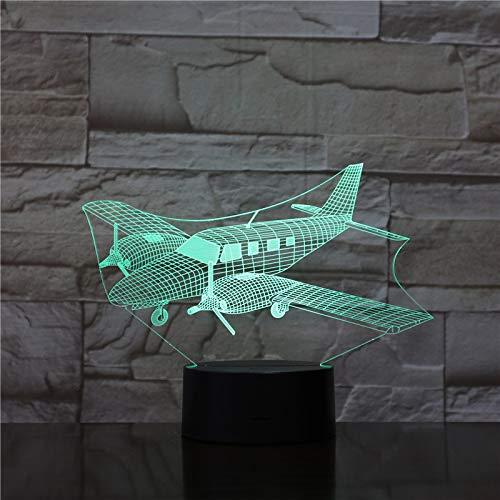 3D nachtlampje 3D LED planeet nachtlicht vliegtuig 3D illusie nachtlamp 16 touch schakelaar tafellamp kerstverjaardag babybed decoratie (met afstandsbediening)