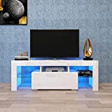 TV Stand, TV Cabinet with Bright Led System, Drawer and Glass Open Shelves, Modern Entertainment Center for Game Console, 60 Inch TV, Elegant Media Center for Living Room, Bedroom (White)