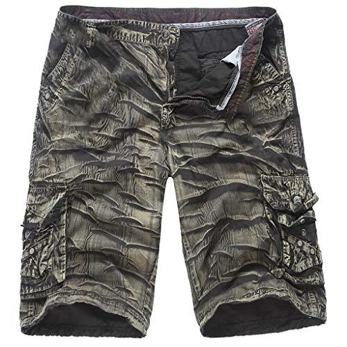 iHAZA Hommes Pantalon Multi-Poche Camouflage Décontractée Court Un Pantalon en Plein air Solide Salopette