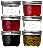Kerr Wide Mouth Glass Mason Jars 8 OZ - For Canning, Fermenting, Pickling, Freezing, Preserving with Silver Metal Airtight Lids and Bands – Clear Glass - Pack of 6 - with Black Sharp Mark Permanent Marker