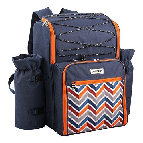 anndora Picknickrucksack 4 Personen dunkelblau orange inkl. Zubehör 29-teilig
