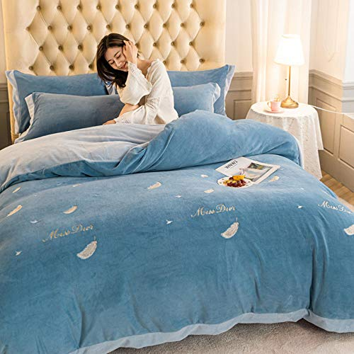 teddy fleece bedding king size set-Four-piece thickened milk bedding for autumn and winter-U_2.0m bed (4 pieces)
