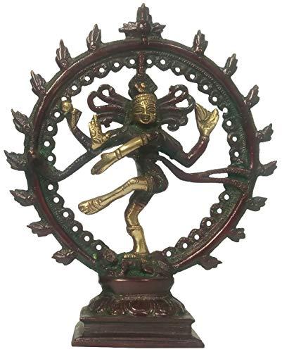 Purple dip Brass Idol Nataraja, Shiva en danza cósmica: diseño antiguo, estatua de oro rojo (12162)