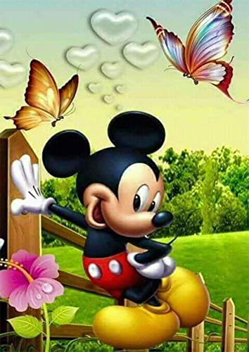 5D Full Drill Diamond Painting Kit, DIY Disney Mickey Mouse Diamond Painting Kits for Adults and Beginner Embroidery Arts Craft Disney Home Decor,12x16inch,DZ3008