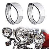 NTHREEAUTO Passing Lamp Trim Rings, 4.5 Inch Fog Lights Visor Chrome Bezel Compatible with Harley Touring, Road King, Softail, Street Glide, Sportster, Electra Glide