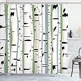 ABAKUHAUS Wald Duschvorhang, Dichter Baum Bildung, Personenspezifisch Druck inkl.12 Haken Farbfest Dekorative mit Klaren Farben, 175 x 200 cm, Multicolor