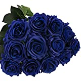 DIGIROOT Artificial Flowers Fake Rose, 12pcs Real Touch Silk Rose Flowers DIY for Wedding, Party and Home Decoration, Blue