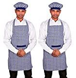 Checks cotton kitchen apron with cap pack of 2. Apron Size: 77Lx57W Cm chef's apron smart look due to black border on cap. elastic use in cap so size auto adjust. Comes With A Cap : The Apron Set Also Comes With A Matching Cap With Border That Helps ...