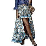 Beada Boho Print Faldas Largas Mujeres Bottoms Cintura Elástica Gitana Etnica Damas Falda M Tamaño Azul