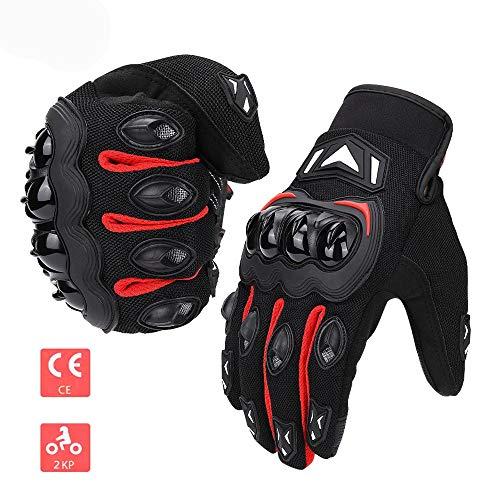 ISSYZONE Motorrad Handschuhe Sport Handschuhe Touchscreen Handschuhe Warm Atmungsaktiv Anti RutschFahrad Handschuhe Sommerhandschuhen (Rot, L)