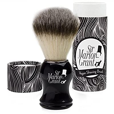 Sir Marlon Grant Vegan–Premium Badger Shaving Brush In Imitation Ebony Shaving Brush–100% Vegan