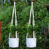 YCDC 2X Macrame Plant Hanger Retro Manual Knotted Cotton Threads, Flowerpots Basket Holder Indoor/Outdoor Decor 1m/3.3ft