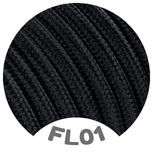 Flairlux Textilkabel für Lampe schwarz 10 Meter 3 adrig Stoffkabel (3x0,75mm²) - FL01
