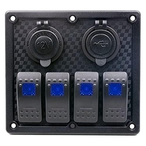 apofly Rocker Interruptor Panel Toggle Dash 5 Pin on/Off Cambio De Rockero Precableado Interruptor De Retroiluminación Rojo para Automóviles Barco Marino Negro