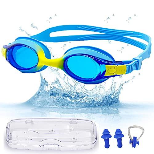 Occhialini Nuoto Bambini, Occhialini Nuoto Bambino 6-14, Occhialetti piscina per Bambini UV Protezione& Senza Perdita Anti Fog, Occhialini Unisex - Bambini. Con tappi per le orecchie, clip per il naso