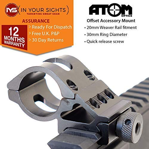 Atom Optics 30mm Offset Antorcha Soporte para Escopetas, Rifle, Airsoft / 20mm Tejedor Offset Montaje