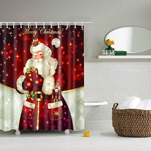 THEE Navidad Cortina de Ducha Impermeable de Papá Noel