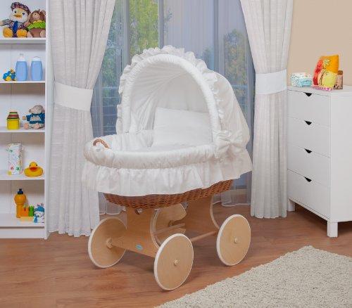 WALDIN Baby Stubenwagen-Set mit Ausstattung,XXL,Bollerwagen,komplett,6 Modelle wählbar,Gestell/Räder natur unbehandelt,Stoffe weiß