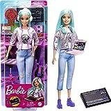 Barbie Productora musical, muñeca pelo azul con cascos y accesorios musicales de juguete, regalo para niñas y niños +3 años (Mattel GTN77)
