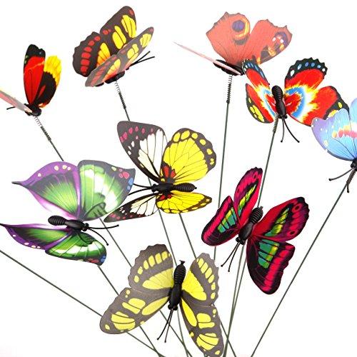 Zhuotop Lot de 10 pcs de 3D Papillons sur Tige Coloré Décoration du Jardin Ornement