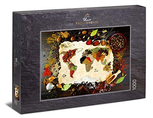Ulmer Puzzleschmiede - Puzzle Taste The World: Puzzle de 1000 Piezas - Mapa Mundial de Las Especias de Colores, la Pimienta y la Sal - fotografía Original de Alimentos
