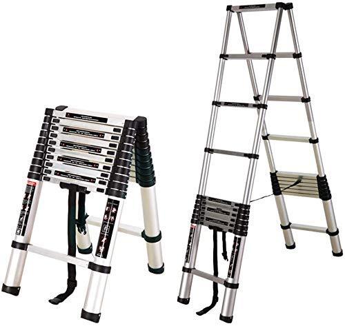 Sillbenstege, bärbar hemsida dubbelsidig teleskopisk tjock aluminiumlegering vikbar multifunktionell klättringstrappa/lyftteknisk stege, sillbenstege-3.8 + 3.8m, storlek namn: fiskbensstege