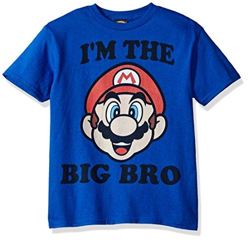 Nintendo Little Boys Big Bro Graphic T-shirt, Royal, YS