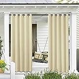 Cortinas para exteriores para patio, a prueba de óxido, con ojales superiores, impermeables, para cortinas de ventana para porche, pérgola, cabaña, mirador y solárium-beige, W52xL84in-132x213cm, Chi