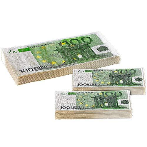 Monsterzeug Geld Taschentücher - 100 Euro Scheine, Partyscherzartikel, 10 Stk/Packung