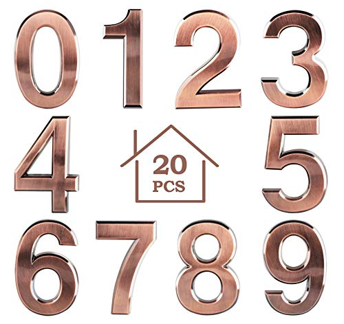 20Pcs Mailbox Numbers 3D 2.8'' Self-adhesive Door House Numbers Stickers Street Address Numbers Mailbox Sign for Outside Home Office Room, 0-9, Bronze