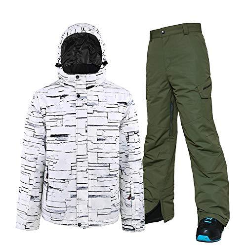 Skianzug Herren Skianzug Männer Erwachsener Wasserdicht Warm Doppelbrett Snowboard Wear Berg Anzug Winter Ski-Jacke und Hose for Männer Outdoor-Anzüge (Farbe : 04 PeiJun Green Trousers, Size : XXL)