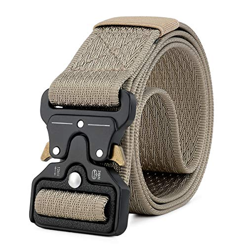 MOZETO Men's Tactical Belt, Military Nylon Web Rigger Work Carry Tool Belts for Men with Heavy-Duty Quick-Release Buckle