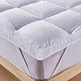 Bedecor Colchoncillos,Microfibra Almohadilla de colchón,Suave,Cosida,hipoalergénico,Calidad de Hotel,Blanco -200 x 200 cm