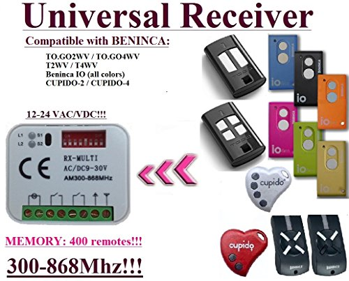 Universal Receptor Compatibile con BENINCA TO.go2wv, to.go4wv, T2WV, T4WV, Cupido, Beninca io 433,92 mhz mando a distancia. 2 canales Rolling Code 300-868 mhz. Rolling/fixed Code 12-24 VAC/DC Receiver