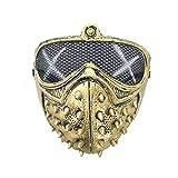 eBoutik Máscara facial con espigas de miedo con ojos de malla para Halloween Videojuegos (tachuelas doradas)