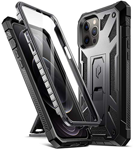 Poetic Spartan Series for iPhone 12 Pro Max 6.7 inch Case, Full-Body Rugged Dual-Layer Metallic Color Accent with Premium Leather texture Shockproof Protective Cover with Kickstand, Metallic Gun Metal