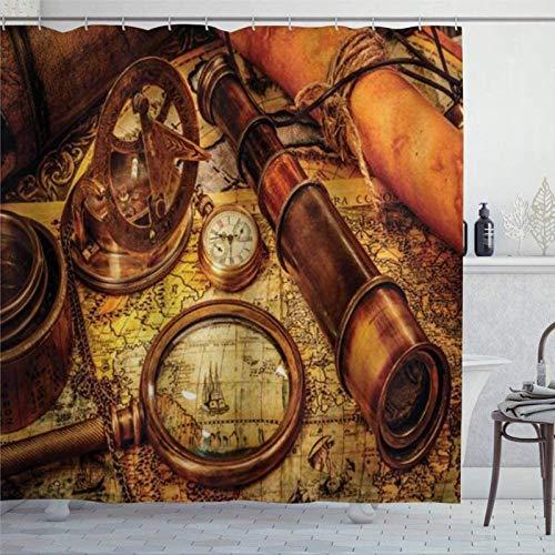 959 Cortina de ducha con lupa, telescopio y reloj de bolsillo en un mapa antiguo, cortina de ducha náutica con anillos, cortinas de ducha de tela de poliéster con ganchos, decoración de baño