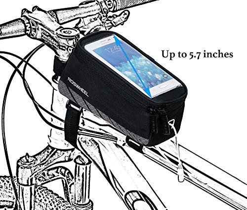 Roswheel Bicycle Frame Pannier & Front Tube Cell Phone Bag, Black